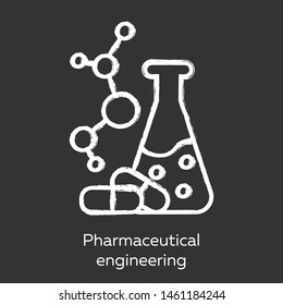 Pharmaceutical engineering chalk icon. Drug formulating. Chemical engineering. Medication quality control. Flask, molecule, capsules. Pharmacology. Isolated vector chalkboard illustration