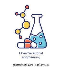 Pharmaceutical engineering color blue icon. Drug formulating. Chemical engineering. Medication quality control. Flask, molecule, capsules. Pharmacology. Biotechnology. Isolated vector illustration
