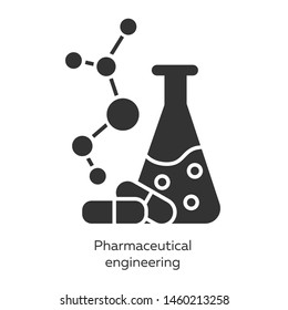 Pharmaceutical engineering glyph icons set. Drug formulating. Chemical engineering. Flask, molecule, capsules. Pharmacology. Biotechnology. Silhouette symbols. Vector isolated illustration
