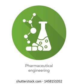 Pharmaceutical engineering green flat design long shadow glyph icon. Drug formulating. Chemical engineering. Flask, molecule, capsules. Pharmacology. Biotechnology. Vector silhouette illustration
