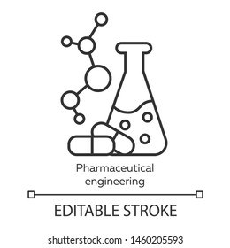 Pharmaceutical engineering linear icon. Chemical engineering. Flask, molecule, capsules. Pharmacology. Thin line illustration. Contour symbol. Vector isolated outline drawing. Editable stroke