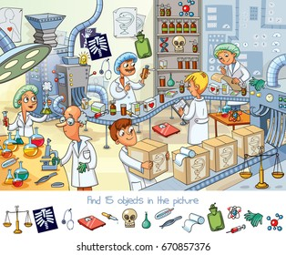 Pharmaceutical factory. Find 15 objects in the picture. Funny cartoon character. Vector illustration