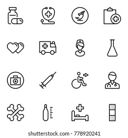 Pharmaceutical icon set. Collection of high quality black outline logo for web site design and mobile apps. Vector illustration on a white background.