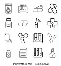 Pharmaceutical icons. set of 16 editable outline pharmaceutical icons such as pill, test tube, ampoule, medicine, pharmacy, bottle pills