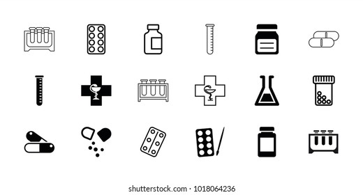 Pharmaceutical icons. set of 18 editable filled and outline pharmaceutical icons: paints, pill, test tube, bottle pills, medical bottle, medical pills, pharmacy