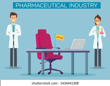 Pharmaceutical Industry Vacancies Banner Template. Vacant Position in Pharmacy Company. Cartoon Lab Workers, Chemists, Scientists Experimenting with New Medication Flat Characters. Drugstore Poster