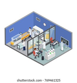 Pharmaceutical innovations scientific research lab and experimental medicine test production facility isometric background composition vector illustration