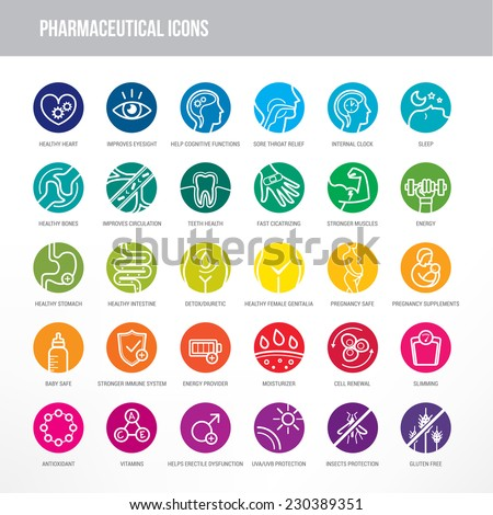 pharmaceutical medical icons set medical packaging のベクター画像