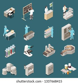Pharmaceutical production isometric icon set with scientist at work and drug manufacturing vector illustration
