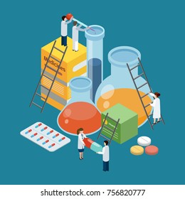 Pharmaceutical production symbolic isometric background poster with lab researches climbing on medicine pills packages retorts vector illustration