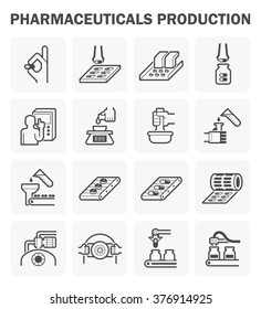Pharmaceutical production vector icon sets design.