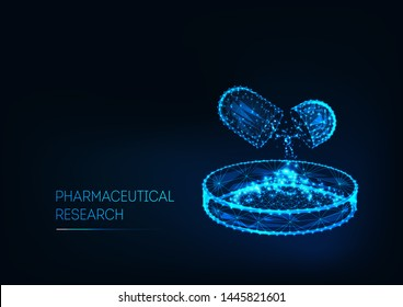 Pharmaceutical research concept with futuristic glowing low polygonal open medicine pill and Petri dish and text isolated on dark blue background. Clinical study. Modern design vector illustration.