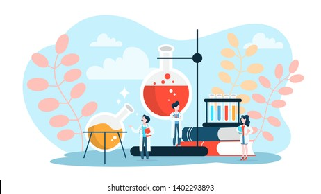 Pharmaceutical research concept. Scientist making clinical test and analysis. New medicine development. Researcher with microscope. Isolated vector illustration in cartoon style