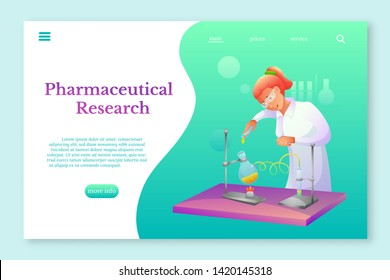 Pharmaceutical research lnding page template. Biochemist making research flat character. Chemist experimenting vector illustration. Scientific, medical laboratory, lab testing. Chemicals, in tubes