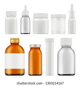 Pharmaceutical white bottles. Blank medicament supplement box or packages realistic white empty vector containers