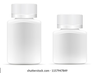 Pharmaceutical wide square drug bottle for pills, capsules. White container mock up. 3d vector illustration.