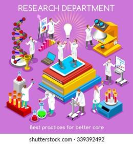 Pharmaceuticals Industry Scientist Translational Research Infographic. Pharmaceutical Research Laboratory Symbol Clinic Medical Biotech Laboratory. 3D Isometric People Drug Development medicine Vector