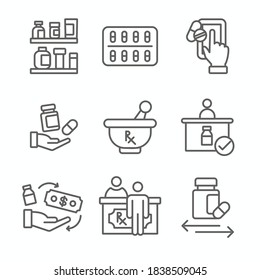 Pharmaceuticals & medication icon set with mortar and pestle, pharmacy, otc