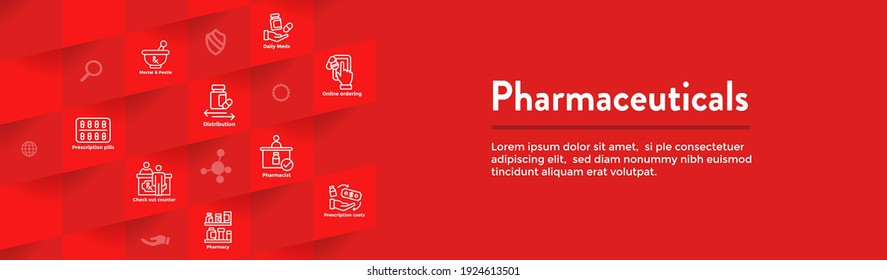 Pharmaceuticals and medications icon set with web header banner