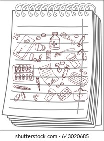 Pharmaceuticals set on notebook background. Free hand drawn. Vector illustration.