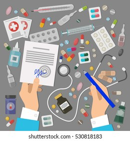 Pharmaceutics banner set. Doctor makes medical prescription. Medicines, pills, tablets, ampulla, bottles, troches isolated. Stethoscope icon. Chemical drugs. Vitamins and remedies. Vector illustration
