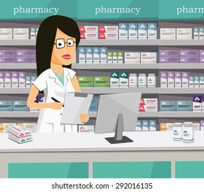 Pharmacist chemist woman in pharmacy. Sale of vitamins and medications. Funny vector simple illustration.