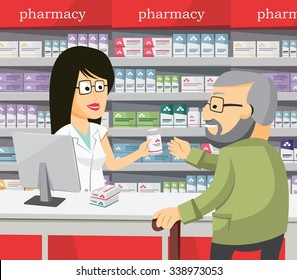 Pharmacist chemist woman in pharmacy. Senior buys drugs at the pharmacy. Sale of vitamins and medications. Funny vector simple illustration.