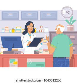 Pharmacist at counter in pharmacy.Man buys drugs at the pharmacy.Health care medical background. Drugstore flat vector illustration