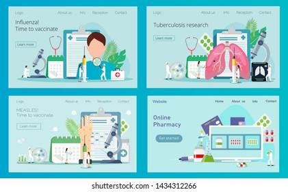 Pharmacist give advice and conceling medication. Measles, rubeola vaccination. Concept of tuberculosis, pneumonia, lung diagnosis x-ray machineTime to vaccinate, vector syringe with vaccine, bottle.
