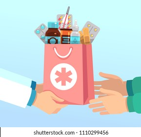 Pharmacist gives bag with antibiotic drugs according to recipe to hands of patient. Pharmacy vector concept medical treatment, pill drug and medication illustration