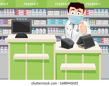 Pharmacist with medical face mask protection. Modern interior pharmacy and drugstore. Sale of vitamins and medications.