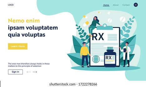 Pharmacist and patients presenting RX prescription. Doctor recommending painkiller drugs. Vector illustration for pharmacy, medication, disease, therapy concept