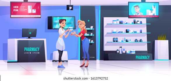 Pharmacist serves client in pharmacy. Vector drugstore interior with medical products on shelves, counter, digital display showing advertising of pills or vitamin. Apothecary gives drug to customer