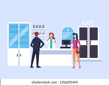 Pharmacist woman character selling drugs and pills to people consumers. Health care shop concept. Vector design graphic flat cartoon isolated illustration