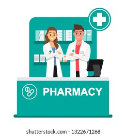 Pharmacist,drugstore,Pharmacists are ready to give advice on drug use..cartoon illustration