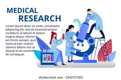 Pharmacological laboratory concept in flat style.Doctors doing laboratory research. Chemical research and pharmacists. Vector illustration for web banners, brochure.