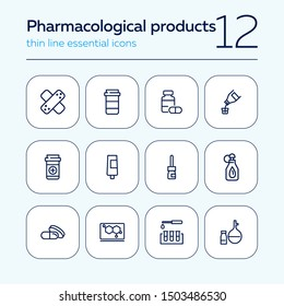 Pharmacological products icon set. Drugstore concept. Vector illustration can be used for topics like apothecary, pharmaceuticals, medicine