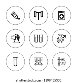 Pharmacology icon set. collection of 9 outline pharmacology icons with flask, drug, test tube, test tubes icons. editable icons.