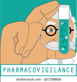 Pharmacovigilance, control and evaluation in pharmacy, clinical trials. Test tube with molecules.