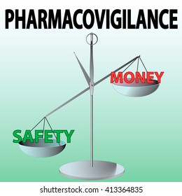 Pharmacovigilance vector picture. Evaluation and control in pharmacy. Scale with safety and money