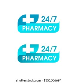 Pharmacy 24/7 sign - logo for round-the-clock medical service with cross in modern decoration