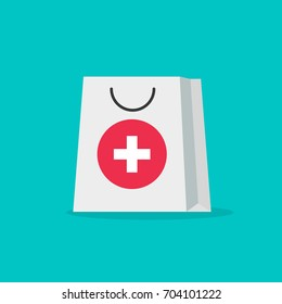 Pharmacy bag vector illustration, flat cartoon medical healthcare bag isolated, idea of logo of symbol