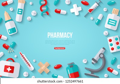 Pharmacy Banner With Flat Icons on Blue Background. Vector illustration. Medical Frame. Drugs and Pills, Lab Tests, Medication Concept. Place for your text