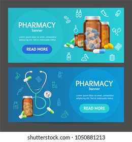 Pharmacy Banner Realistic Detailed 3d Horizontal Set Include of Pills Capsules in Medical Glass Bottle. Vector illustration of Banners