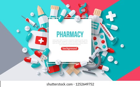 Pharmacy Banner With Square Frame and Flat Icons on Modern Geometric Background. Vector illustration. Medical Frame. Drugs and Pills, Lab Tests, Medication Concept