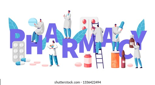 Pharmacy Business Drug Store Industry Banner with Characters. Pharmacist Cure Patient. Professional Drugstore Product. Healthcare Industry Vitamin Pill. Flat Cartoon Vector Illustration