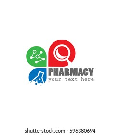 Pharmacy Business Logo with DNA, Magnifying Glass and Laboratory Bottle Icon Symbol