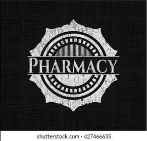 Pharmacy chalkboard emblem written on a blackboard