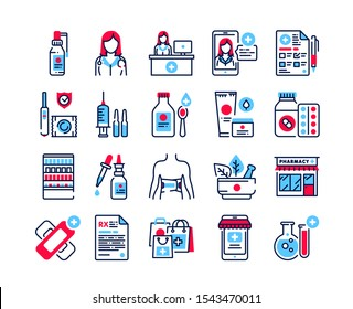 Pharmacy color icons set. Medical clinic communication with patient and medicaments. Signs for web page, mobile app, banner. Pictograms UI/UX user interface. Vector clipart. Editable stroke.