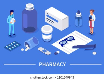 Pharmacy concept with characters. Can use for web banner, infographics, hero images. Flat isometric vector illustration.